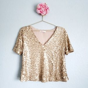 Socialite Gold Sequin V-Neck Blouse